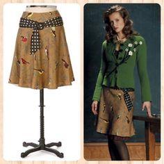 6fd236995 Elevenses Anthropologie Rare Multi Finch Bird Print Wool A-Line Skirt Size 4