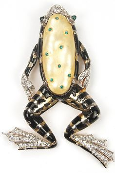 Trifari 'Alfred Philippe' Black Enamel and Pearl Belly Ming Frog Pin Clip, 1942