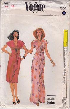 Dress Fitted Bustline Draped Skirt High Waisted Vogue Sewing Pattern 7977 Sz 16 #Vogue7977 #highwaisteddressdrapedskirt