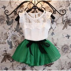 Sassy Short Sleeve Chiffon Baby Girl Clothes Pullover Shirt Skirt Outfit Set