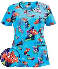 Cherokee Tooniforms Finding Nemo V-Neck Scrub Top, Pediatric Scrubs Pediatric Scrubs, Pediatric Nursing, Scrubs Outfit, Scrubs Uniform, Vet Scrubs, Dental Scrubs, Stylish Scrubs, White Scrubs, Summer Teacher Outfits