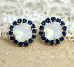 Blue Sapphire and white Opal Rhinestone stud earring - 14k 1 micron Thick plated gold post earrings real swarovski rhinestones .