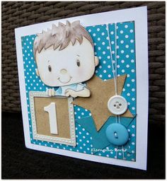 Handmade card for 1-year old 1-vuotiaalle pojalle