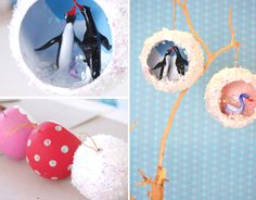 DIY diorama holiday ornaments - giddygiddy using hollow ring cardboard ornaments from papersource