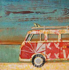 vw bus, colorful handmade art