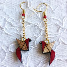 Wooden Earrings - Red Birds Origami Style