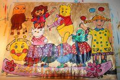 Barnekunst: kjente figurer. malt av Gro Wavik.