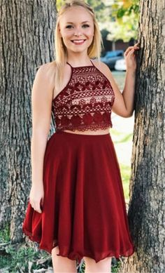 two piece burgundy short homecoming dresses, cheap chiffon short prom dresses, beach summer skirts