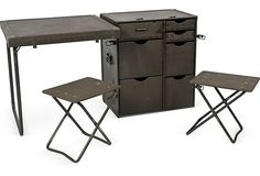 Great unused vintage military filed desk set that unfolds into a desk, two stools and a set of drawers.