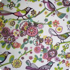 This colorful Fashion Sparrows Jewel Fabric is perfect for home sewing projects from kids bedding to pillows. http://warmbiscuit.com/fashion-sparrows-jewel-fabric-june2011.html