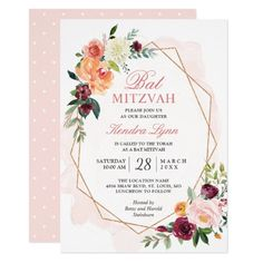 Celebrate a joyous occasion with grandeur with Watercolor bar & bat mitzvah invitations at Zazzle. Amazing themes & styles for perfect party invitations. Invitation Card Design, Floral Invitation, Wedding Invitation Cards, Birthday Party Invitations, Invitation Templates, Bar Mitzvah Invitations, Zazzle Invitations, Invites, Rehearsal Dinner Invitations