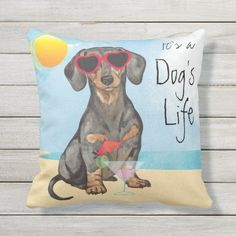 Summer Dachshund Outdoor Pillow for dachshund lovers, longhaired dachshund, dachshund puppy funny #DachshundsThroughtNovember #dachshundowners #dachshundsofbrazil, back to school, aesthetic wallpaper, y2k fashion Dachshund Tattoo, Dachshund Shirt, Dapple Dachshund, Dachshund Gifts, Funny Dachshund, Dachshund Puppies, Weenie Dogs, Chihuahua Dogs, Pet Dogs