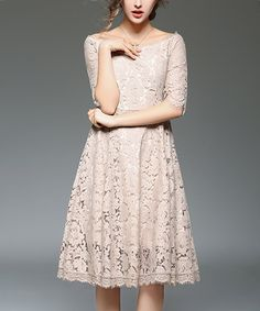 Take a look at this Coeur de Vague Beige Scallop-Hem Lace Dress today!