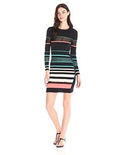 Rebecca Minkoff Womens Groovy Stripe Long Sleeve Sweater Dress BlackMulti Stripe XSmall -- Continue to the product at the image link.