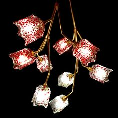 Grenadine Red Droplets: 10-Shade Brass Lighting Fixture