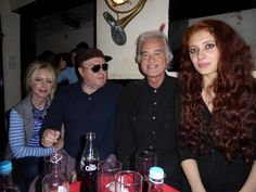 Jimmy Page with Van Morrison and his girlfriend Scarlett Sabet (r) in London May 11, 2015.