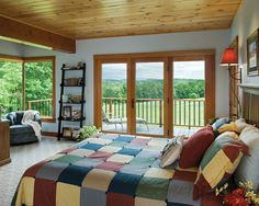 Hillside Timber Cottage - Timber Frame Home Master Bedroom Timber Frame Homes, Timber House, Timber Frames, Pole Barn House Plans, Bedroom Fireplace, Trendy Home, Ideal Home, Cozy House, My Dream Home