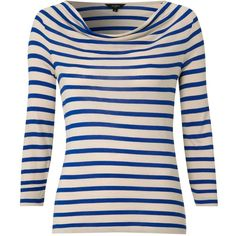 Hobbs Simone Stripe Top, Stone Sea Blue ($46) ❤ liked on Polyvore
