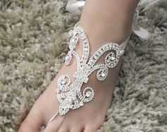 Kids Barefoot Sandals Rhinestone Foot Jewelry ROSE by Kimsically
