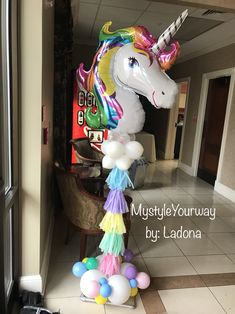 Unicorn balloon column