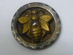 Very Old Cut Steel Button w/ Attached Brass Bee & Cut Steel Bead | eBay