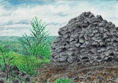 SeniorTip Watercolor Landscape, Mount Rushmore, Rocks, Trees, Paintings, Drawings, Nature, Plants, Art