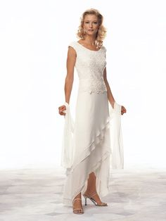 Cameron Blake 13673. Chiffon tip of the shoulder A-line dress with Venise lace bodice and chevron layered skirt with high low hemline. Matching shawl included. Fabric: #timelesstreasure