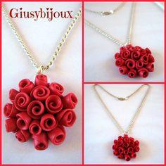 """Collana  con ciondolo rosso """"bouquet di roselline"""" fatto a mano in fimo, by Creazioni Giusybijoux, 22,00 € su misshobby.com"""