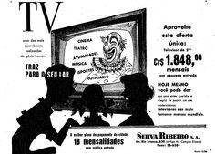 """""""TV, uma das mais assombrosas realizações do gênio humano, traz para o seu lar: cinema, teatro, atualidades, música, esporte, noticiário. Hoje mesmo você pode dar aos seus entes queridos a alegria de possuir um dos moderníssimos televisores das mais famosas marcas mundiais. O melhor plano de pagamento da cidade: 18 mensalidades com módica entrada. Serva Ribeiro, Av. Rio Branco, 620″.    19 de junho de 1955. http://blogs.estadao.com.br/reclames-do-estadao/2011/06/17/chegou-a-televisao/"""