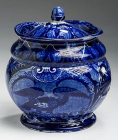 Northeast Auctions 8/20/16 Lot: 4.  Estimate: $1,200 - 1,800. Realized: $1,440 (1,200).   Description:  'BALD EAGLE,' RARE STAFFORDSHIRE DARK BLUE TRANSFER-PRINTED SUGAR BOWL AND COVER, UNKNOWN MAKER, EARLY 19th c. Height 5 3/4 inches. Provenance: Winter Associates, Plainville, Connecticut, September 27, 2004.