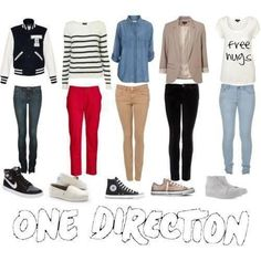 One Direction outfits for Girls, my favorite is the Zayn & Louis Outfit! Estilo One Direction, One Direction Fashion, One Direction Merch, One Direction Outfits, Direction Quotes, Girls Fashion Clothes, Teen Fashion, Fashion Outfits, Clothes For Women