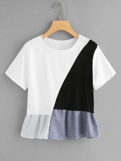 Shop Color Block Ruffle Hem Tee online. SheIn offers Color Block Ruffle Hem Tee & more to fit your fashionable needs.