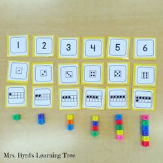 Using number cards and cubes to teach number order, numeral writing, and counting. (Mrs. Byrd's Learning Tree)