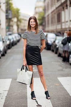 stripes & a skirt. #BetteFranke making it look easy #offduty in Paris.