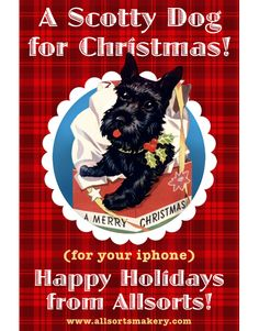 Freebie wallpaper for iPhone with a cute Christmas scotty dog.