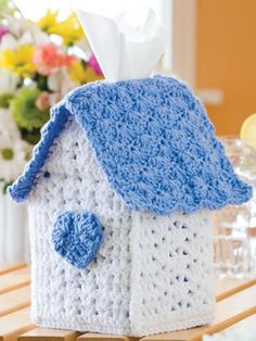Birdhouse Tissue Box Free Crochet Pattern