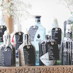 What's your favourite Gin? A Gin Themed Table Plan at by Bottle Centerpieces, Bottle Candles, Gin Bottles, Pub Wedding, Marquee Wedding, Wedding Marquee Decoration, Rustic Wedding, Wedding Reception, Wedding List