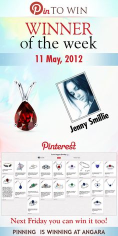 """Congratulations to @Jenny Smillie for winning the """"Pin to win"""" Pinterest weekly contest! Jenny, please check your email. Thanks to all who entered!  Don't Despair you still have a chance to win as this contest is still on. Pinning is Winning at Angara"""