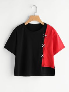 SheIn offers Contrast Panel Grommet Crisscross Tee & more to fit your fashionable needs. Girls Fashion Clothes, Teen Fashion Outfits, Girly Outfits, Mode Outfits, Cute Casual Outfits, Cute Fashion, Fashion Dresses, Vetement Fashion, Shirt Bluse
