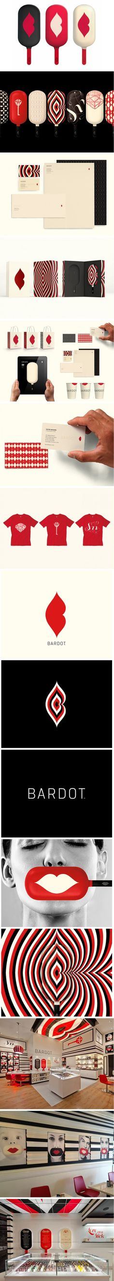 Bardot by Landor an old identity packaging branding pin that I truly love PD Logo Design, Web Design, Brand Identity Design, Graphic Design Branding, Creative Design, Corporate Design, Corporate Identity, Visual Identity, Identity Branding