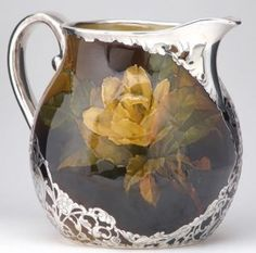 ROOKWOOD pitcher, painted by Kataro Shirayamadani with yellow roses, covered in silver overlay with pomegranate patterns, Rookwood Pottery, Water Into Wine, Vintage Butterfly, In Vino Veritas, Le Jolie, Bottle Vase, Porcelain Ceramics, Antique Glass, Yellow Roses