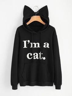 Cheap women sweatshirt, Buy Quality hoodie sweatshirt directly from China sweatshirt cat Suppliers: Women Sweatshirt Cat Slogan Print Cat Ear Kawaii Hoodie Sweatshirt 2017 New Black Print Cute Pullovers Long Sleeve Casual women hoodies hoodies Kawaii Hoodie, Mode Kawaii, Jugend Mode Outfits, Sports Hoodies, Kawaii Clothes, Cool Clothes, Cat Ears, Hooded Sweatshirts, Long Sleeve Tops