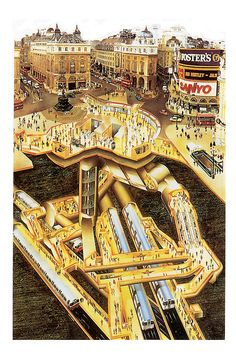 Brilliant cutaway showing what goes on underneath Piccadilly Circus station. If only one of these existed for every interchange...