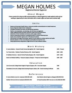 Dental hygienist resume example sample
