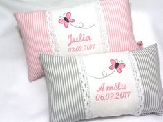 Ein individuelles **Namenskissen** x i. Baby Sheets, Baby Bedding Sets, Baby Pillows, Throw Pillows, Bed Covers, Pillow Covers, Baby Barn, Pillow Embroidery, Classic Girl