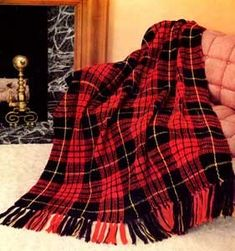Crochet Patterns Ideas Plaid Crochet Afghan Pattern in Knitting Worsted - Masculine Crochet Afghan Pattern in Tartan Plaid Motif fringed is made in Red Black Knitting Worsted; measures 50 x 64 inches. Knitted Afghans, Afghan Crochet Patterns, Crochet Stitches, Crochet Blankets, Knitting Patterns, Pdf Patterns, Vintage Patterns, Free Pattern, Plaid Crochet