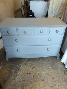 Sadly no before picture of this piece. It is a Stag dark wood chest of drawers purchased for £30 painted Annie Sloan Paris Grey and finished with a clear wax. New hardware finished this piece beautifully.