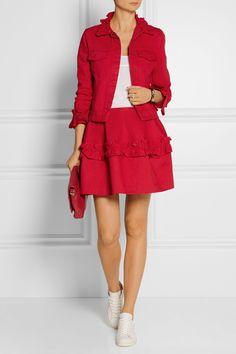 J Brand   + Simone Rocha ruffled denim mini skirt   NET-A-PORTER.COM
