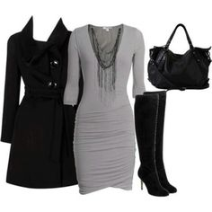 Love the dress and coat and putlrse but would replace the boots with black pumps