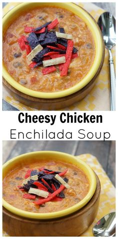 Cheesy Chicken Enchilada Soup - Perfect for a fall day!  Cannot wait to make this!